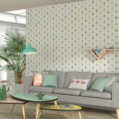 Optez pour une déco douce et envoûtante...  De délicats motifs nordiques se dessinent sur un fond blanc. Les différents tons de bleus froids s'allient à la chaleur du jaune moutarde. Un brin vintage, l'intissé FJORD trouvera facilement sa place dans votre déco pour créer une ambiance scandinave, tendance et réconfortante. Decor, Furniture Projects, Living Room Colors, Furniture, Interior, Wall Colors, Home Decor, House Interior, My Furniture