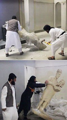 Images taken from a video showing Isis militants destroying artefacts last month in Mosul, Iraq