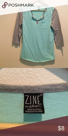 Light Teal Baseball Tee Light teal colored baseball tee with light gray sleeves! Super cute for the summer and spring months. ZINE Tops Tees - Short Sleeve