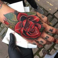 Double Red Rose Hand Tattoo Ink Hand Tattoos Tattoos Rose Tattoos