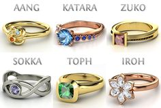 Avatar the Last Airbender themed rings custom made on Gemvara by tumblr user technoturian
