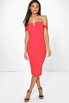 boohoo Off The Shoulder Midi Bodycon Dress - red AZZ06352 Off the shoulder midi bodycon dressMake a statement in this sultry, off the shoulder bodycon dress! Take it to the dance floor in the highest heels, an envelope clutch and statement necklace. Pamela i http://www.MightGet.com/january-2017-13/boohoo-off-the-shoulder-midi-bodycon-dress--red-azz06352.asp