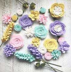 Wool Felt Fabric Flowers  Flower Embellishment  Spring