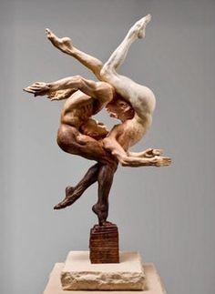 Duality Human Sculpture, Abstract Sculpture, Art Sculptures, Ceramic Sculptures, Fantasy Kunst, Oeuvre D'art, Wood Carving, Amazing Art, Cool Art