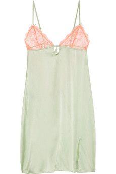 Heidi Klum Intimates Delicatesse lace-trimmed stretch silk-satin chemise | THE OUTNET
