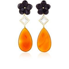 Bahina 18K Yellow Gold Earstuds With Black Onyx Flower, Rock Crystal... (12.000 RON) ❤ liked on Polyvore featuring jewelry, earrings, drop earrings, black onyx earrings, stud earrings, gold stud earrings and 18 karat gold earrings