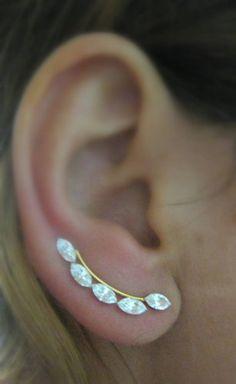 Ear Sweep Wrap - Cuff Earring with Swarovsky - Gold Filled | blucky - Jewelry on ArtFire