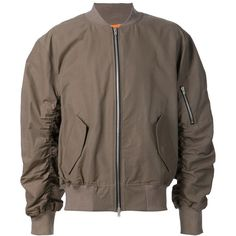 Fear Of God ruched sleeves bomber jacket The Webster ($1,250) ❤ liked on Polyvore featuring outerwear, jackets, blouson jacket, ruched sleeve jacket, bomber jacket, flight jacket and brown bomber jacket