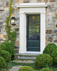 stone, door, surround, light fixture, bushes, love it all