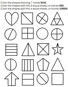 Shape Equal Parts Worksheet | Printable maths worksheets, Math ...