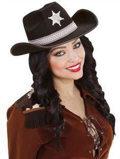 Flot sort cowboyhat - Kr. 95,00
