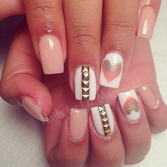 Colored acrylic nails. Cute heart design for summer nails