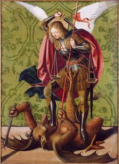 St. Michael killing the Dragon 1493 - 1505 Josse Lieferinxe // sounds like Beowulf's story in so many ways.