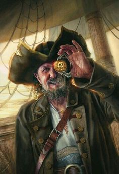 Dread Curse Captain by Lindsey Look - Your Daily Dose of Amazing beautiful Creativity and Digital Art - Fantasy Characters: Archers Assassins Astronauts Boners Knights Lovers Mythology Nobles Scholars Soldiers Warriors Witches Wizards Pirate Art, Pirate Life, Pirate Theme, Pirate Ships, Pirate Crafts, Pirate Birthday, Character Portraits, Character Art, Digital Art Fantasy