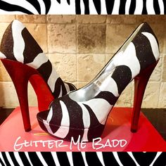 Black and White Zebra print in glitter with a Red heel and Red Bottoms, by Glitter Me Badd