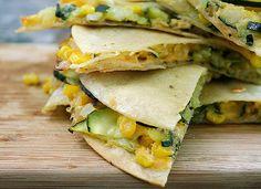 great veggie starter...cut into small bite size portions....zucchini and corn quesadillas from Rebecca Crump