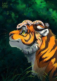 Tiger and lizard by Alder-Leaf on DeviantArt Big Cats Art, Furry Art, Cute Animal Drawings, Animal Sketches, Anime Animals, Cute Animals, Tiger Artwork, Cartoon Tiger, Tiger Drawing