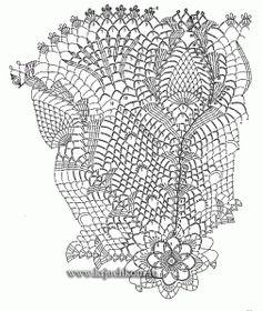 Схема вязания крючком салфетки с тюльпанами