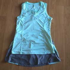 Cute tennis or workout set Mint green and gray Champion sleeveless tennis or workout shirt and matching skort EUC.  Worn once.  Comfy and super cute on!  2nd pic is shirt retail size.  4th pic is skort size. Champion Other