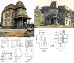 New apartment architecture building facades dreams ideas Victorian House Plans, Vintage House Plans, Gothic House, Victorian Homes, Plans Architecture, Victorian Architecture, Bates Motel Haus, Creepy Houses, House Blueprints