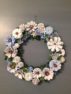 Blue-Gray-White Pine Cone Wreath