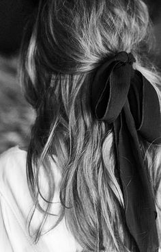 Long hair with ribbon-tied bow, chic style inspiration