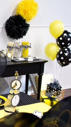 Black Polka Dot Latex Balloons Black and white polka dot balloons stand out against the yellow ones Wiggles Birthday, Wiggles Party, Polka Dot Balloons, Latex Balloons, Polka Dots, Yellow Party Decorations, Bee Decorations, Emma Wiggle, Balloon Stands