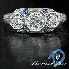 695.  diamond and sapphire in white gold.