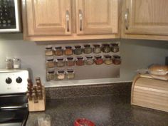 Magnetic spice rack. Free up cabinet space. Functional AND Decorative.