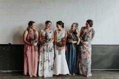 Union/Pine Portland Oregon wedding venue - bridesmaid style - floral dresses