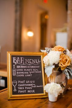 DIY bar menu. Use thrift store frame with some wood painted with chalkboard paint.