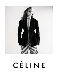 Releasing its resort 2016 campaign, French fashion label Céline goes in a minimal direction with these black and white portraits. Models Agnes Nieske and Mathilde Brandi pose for Zoë Ghertnerin in the new advertisements. Multiple images show models lounging on couches while others have them posing against a blank wall. Bold stripes and high-waisted pants …