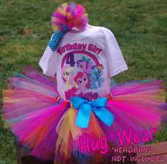 Birthday My Little pony Shirt Tutu Outfit any age by HugWear