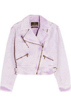 8e3bfa6d9e21 Acid-wash denim biker jacket Pink Denim Jacket