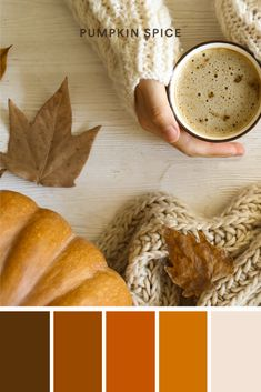 Pumpkin spice not only smells good and tastes great, but also brings rich and warm colors. This monochromatic palette is a fall staple and is seen throughout the season in food, fashion, and decorations. #pumpkin #spice #fall #autumn #color #colors #palette #palettes #sweater #scarf #design #inspiration #logo #orange #brown #leaves #brand #branding #business #entrepreneur #designer #latte #season #DIYlogo #fall #fashion #ideas #howto Fall Color Palette, Color Palettes, Trendy Colors, Warm Colors, Fall Fashion, Fashion Ideas, Fall Staples, Sweater Scarf, Scarf Design