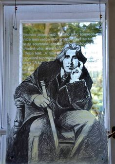 Oscar Wilde - drawing by pencil on sand-blasted sourface and subsequently fixed by low-melting clear colour. M. Kramulova