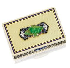 18 Karat Gold, Enamel, Jadeite, Sapphire and Diamond Vanity Case, Cartier, Paris, Circa 1925