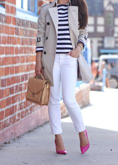 Spring striped top, trench coat, gold watch, leather purse and pop of pink pumps…