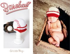 Baseball Newborn Baby Hat -White,Red- Made to Order. $24.00, via Etsy.