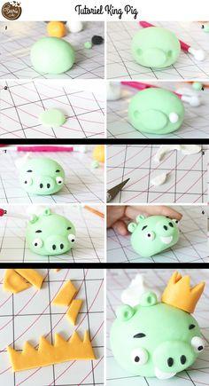 Tutorial für King Pig der Angry Birds aus Fondant von Féerie Cake