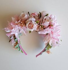 Spring Racing Floral Headband Fascinator with Pink Roses
