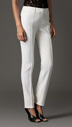 Burberry London Stretch Virgin Wool Blend Pencil Trousers