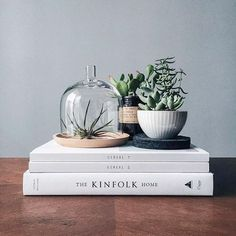 stack of white magazines with small plants. / sfgirlbybay