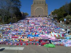 Yarn Bomb at theYarn Indaba in South Africa August 2014. Blankets given to charity. Initiative of One Of A Kind Yarns.