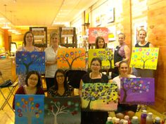 Mom's night out with wine and painting.