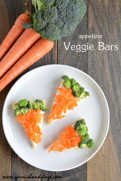 Simple appetizer Veggie Bars that are great for parties-cream cheesing sauce might help my kids eat the veggies :)