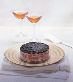 """Smoked Salmon and Caviar Crêpe """"Cake"""" Recipe_  From Daniel Boulud's Favorite Holiday Recipes"""
