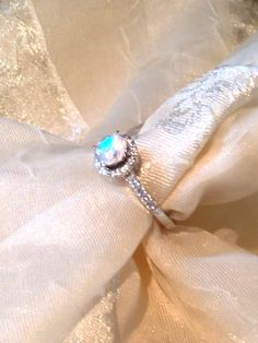 Solitaire Engagement Ring Rainbow Moonstone by NorthCoastCottage, $179.00