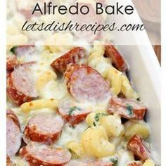 Spicy Smoked Sausage Alfredo Bake Recipe This easy pasta recipe is ready in less than 30 minutes Easy Pasta Recipes, Pork Recipes, Dinner Recipes, Easy Meals, Cooking Recipes, Recipies, Chicken Recipes, Healthy Recipes, Spicy Food Recipes