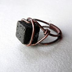 copper ring with lava stone